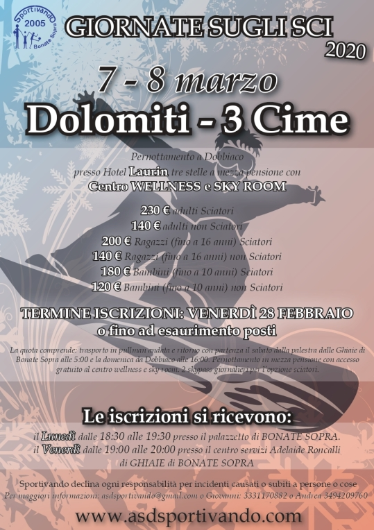 Volantino gita Dolomiti 3 cime